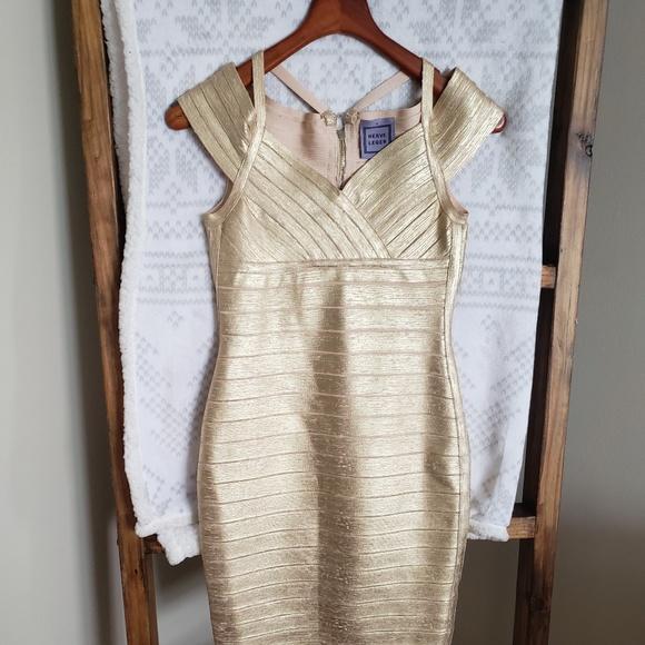 Herve Leger Dresses & Skirts - Herve Leger Gold Bandage Dress